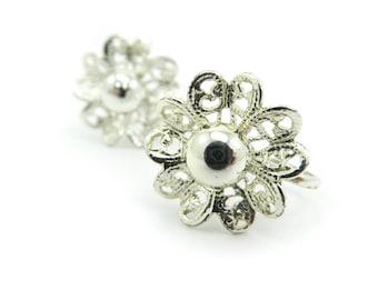 Vintage Filigree Flower Earrings, Light Gold Tone, Screw Backs