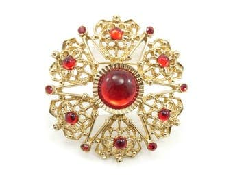 Vintage Sarah Coventry Red Brooch, Glass Cabochons, Gold Tone, Signed Sarah Cov Canada