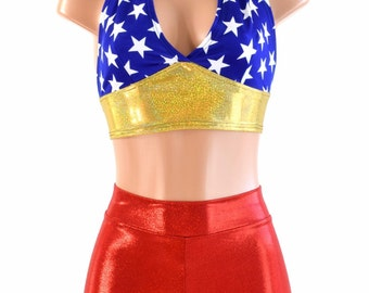 Blue and White Star Gold Sparkly Jewel Band Tie Back Halter & Red Sparkly Jewel Mid Rise Shorts Set Wonder Woman Inspired Super Hero 154125