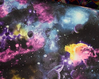 UV Glow Galaxy Print Cosmic Nebula Starry Universe Spandex Fabric Space Moon Planet Asteroid Milky Way Astronomy (By the Yard)