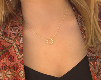 Eternity Necklace-Gold Vermeil Ring Necklace-Rose and Silver - Sterling Silver-Infinity Necklace,Atlas Project
