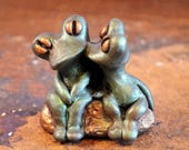 Kissing Frogs Sculpture, Cute Frogs, Frog Figurines, Green Frogs, Signed by the Artist, Handmade Frogs, Miniature Frogs, Frog Art Gifts,