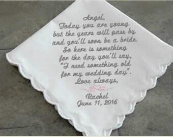 Wedding Message Flowergirl Handkerchief, mother of the bride,mother of the groom, personalized monogram,custom hankies,embroidered hanky,