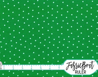 KELLY GREEN DOT Fabric by the Yard Fat Quarter White Dots on Green Fabric Polka Dot Fabric Quilting Fabric 100% Cotton Fabric w7-15