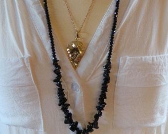 Black tassel necklace. Black tassel necklace with gemstones.  Winter necklace. Long beaded tassel necklace. Bohemian tassel necklace.