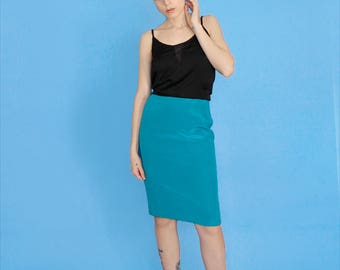 Marina Rinaldi 80's teal blue pencil silk skirt size small - Made in Italy