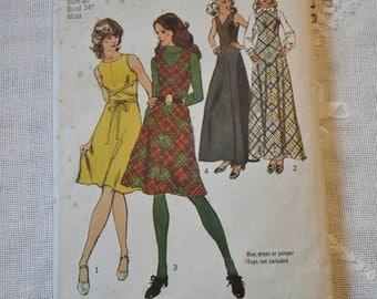 Vintage Simplicity 6097 Sewing Pattern Misses Dress Jumper Size 12 DIY Sewing Crafts PanchosPorch