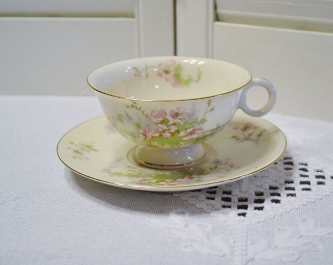 Vintage Theodore Haviland Apple Blossom Cup and Saucer New York Pink Floral Gold Rim Replacement Wedding Bridal PanchosPorch