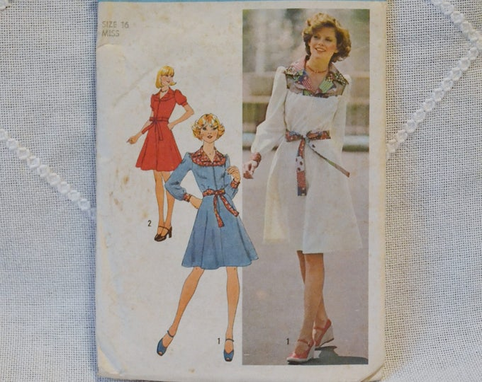 Vintage Simplicity 7130 Sewing Pattern Crafts Misses Dress Size 16  DIY Sewing Crafts PanchosPorch