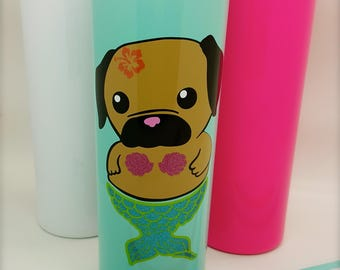 Merpug Theme | Mermaid Pug | 20 ounce | Insulated Skinny Tumbler | Stainless Steel | Vinyl Designs | Like a Yeti | Sealing Lid with Straw