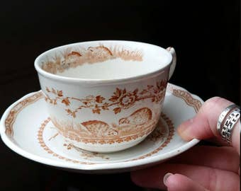 Furnivals Quail Teacup and Saucer. One of Three Available.