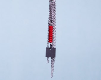 Silver fringe chain pendant, red minimalist chains cluster, long steel chain necklace, red modern necklace, blue pendant, black square charm