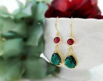 Red and Green Earrings, Christmas Inspired, December Birthday, Emerald Green Teardrops, Holiday Jewelry, Stocking Stuffer, Ruby Red, E2587