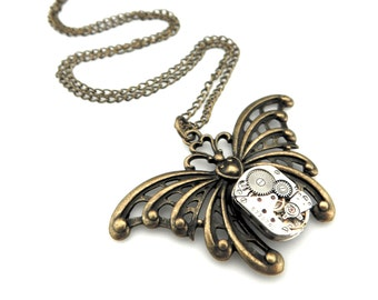 Insect Jewelry - Rustic Butterfly Necklace  -  Edwardian Steampunk Butterfly Pendant - Steampunk gift idea for her
