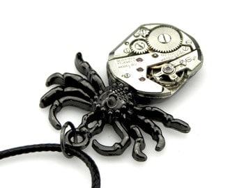 Clockpunk Spider Necklace - Birthday Spider Pendant - Steampunk Black Widow Pendant -  clockwork spider pendant