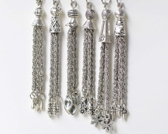 6 pcs Antique Silver Metal Tassel Charm Pendants Mixed Style A8768