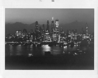 Vintage Photo..Lower Manhattan on a Friday Night, 1950's Original Found Photo, Vernacular Photography