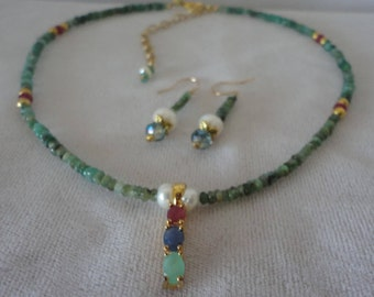 A magnifiscent Faceted Emeralds And Rubys Necklace Set******.