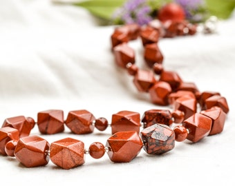Faceted Red Jasper Necklace With 925 sterling silver  *Free worldwide shipping*
