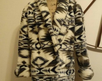 Vintage 'Donny Brook' Faux Fur Aztec Print Coat