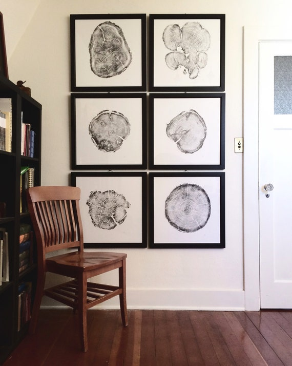 Large Wall Art Set, Set of 6 prints, Real Tree Ring Print, Fathers day art, Print Set, Gifts for him, for guys, Real tree stump art, Linton