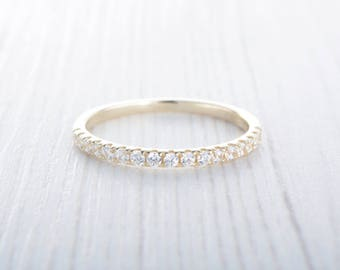 1.8mm wide Lab Diamond Half Eternity ring Solid Yellow Gold - stacking ring - wedding band - handmade engagement ring