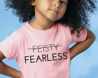 "Feminist Youth TShirt: ""Feisty? Call Me Fearless"" Triblend Feminist Empowerment Kids Shirt (multiple colors) by Fourth Wave Feminist Apparel"