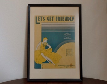 """1931 Let's Get Friendly Lyric Front Cover Framed Art Deco Decor Music Lover Jack Yellen Sid Silvers Dan Dougherty 17"""" height 11.75"""" width"""