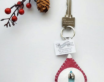 Vagina keychain by Vaginament® Dorothy: heathered ruby/ivory/aqua • made to order