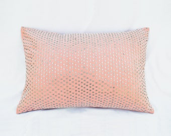 "Blush pillow, stone washed, cotton pillow cover, silver sequin, bohemian, size 16""X16"""