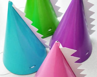 Dinosaur Party Hats | Pink, Green, Teal & Purple Dino Cone Hats with White Spikes | Whimsical Girl's Birthday Party Decor