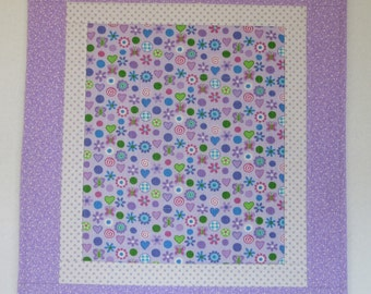 "Doll Quilt, 18"" x 20"", Lavender, Hearts, Flowers, Dots, Folk Art Quilt, Free Pillow"