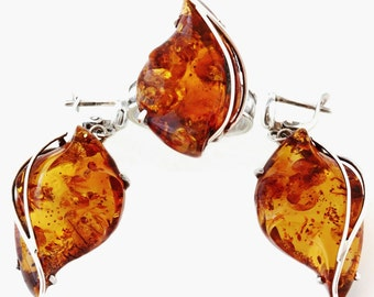 Russian Genuine Honey Baltic Amber Handcrafted Earrings and Adjustable Ring (7-9) 925 Sterling Silver Set