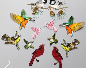 set of 11 Hummingbird sparrow colourful forest baby birds iron on embroidery patches