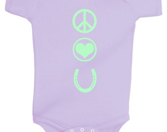 Peace Love and Ponies One Piece Bodysuit for Girls - Purple or Pink