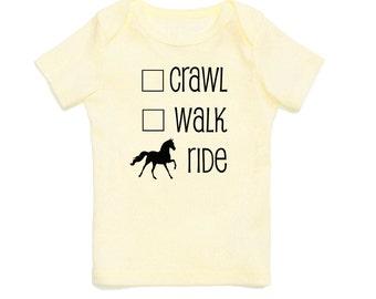 Crawl Walk Ride Baby T-Shirt - Multiple Colors