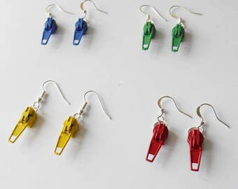 Decorative Zipper Earrings, Perfect Gift  Idea for Crafty Friends, Choose Your Colour, Cheap Gifts, Sewing Favor Presents, Gifts for Her
