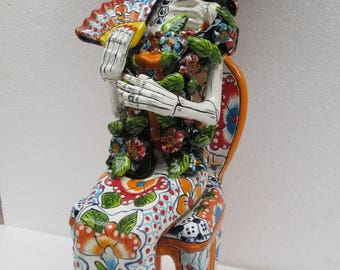TALAVERA CATRINA madame in chair  mexican folk art day of the dead