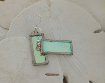 Earrings, Dichroic Glass, Stained Glass, Iridescent