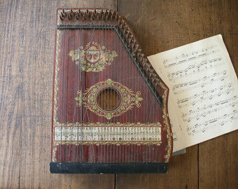 Zither Cither German Harp Instrument for Use or Display Jubel Tone Stringed Musical Instrument with Artwork
