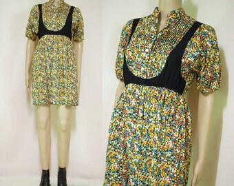 90s Vintage Bright Floral Dress Sheer Panel Mini Length Light Weight Short Sleeve Retro Vtg 1990s XXS-XS