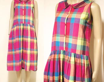 80s Vintage Checkered Dress Mid Length Plaid Rainbow Retro Picnic Hippie Peter Pan Collar Vtg 1980s Size S