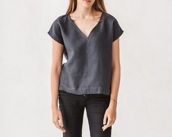 Basic linen top, Linen blouse, Graphite grey top, Minimal top, Minimal linen blouse, Washed linen blouse, Linen, Linen clothes for woman