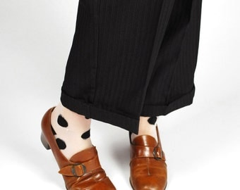1960's Buckle Heels - 60's Leather Oxford Stacked Heel - Size 8 8 1/2
