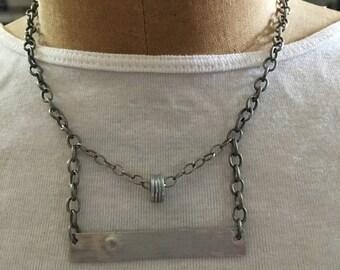 Silver geometric choker necklace