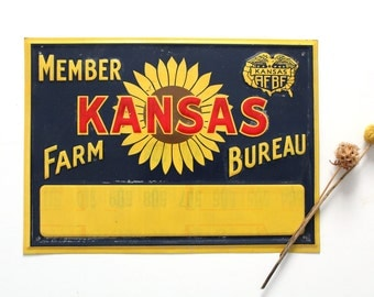 Vintage Kansas Farm Bureau member metal sign, rustic home decor, country sunflower wall art, southern decor, tin farm sign bright color wall