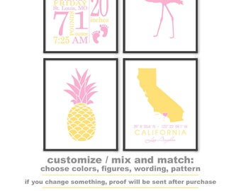 Tropical Baby Nursery Prints, Flamingo Birth Announcement, Pineapple baby decor with Birth Stats, Tropical Birth Print PRINT/CANVAS/DIGITAL