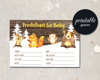 Baby Prediction Card Woodland Baby Shower Predictions For baby, Winter Baby Shower Games Printable Predictions for Baby, Boy or Girl Shower