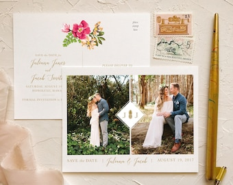 Photo Save the Date Postcards for Boho Beach Wedding