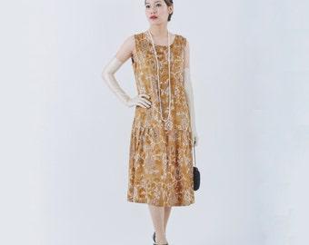 Elegant Great Gatsby dress with brown burnout velvet, 1920s cut velvet flapper dress, brown Charleston dress, Downton Abbey evening dress